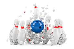 Bowling pins destroyed, 3D. Rendering Royalty Free Stock Image