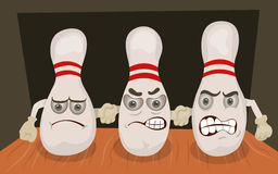 Bowling pins emotion Royalty Free Stock Photo