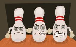 Bowling pins emotion Royalty Free Stock Photo