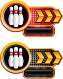 Bowling pins on gold arrow nameplate banners Stock Photos