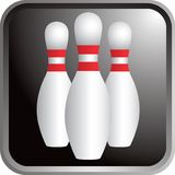 Bowling pins icon. Close up picture of bowling pins Royalty Free Stock Photo