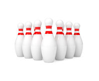 Bowling pins isolated on white. 3d illustration Stock Image