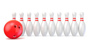 Bowling pins lined and bowling ball. 3D. Render illustration isolated on white background Stock Photos