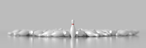 Bowling pins. Many bowling pins on white, with the first one isolated royalty free illustration