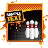 Bowling pins on orange and black halftone ad Stock Images