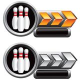 Bowling pins on orange and white arrow banners Stock Photo