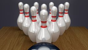 Bowling Pins on Racked Near Strike Royalty Free Stock Image
