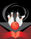 Bowling pins and red ball Royalty Free Stock Photos