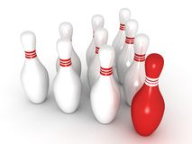 Bowling pins with red leader Royalty Free Stock Photography