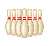 Bowling pins with red stripes in formation Royalty Free Stock Images