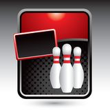 Bowling pins on red stylized banner Stock Photos