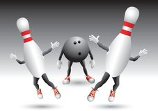 Bowling pins running from bowling ball Stock Photos