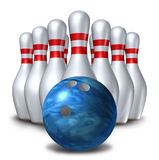 Bowling pins ten pin ball set bowl symbol. Bowling sport pins and ball in a ten pin set formation representing opportunity in business Royalty Free Stock Photos