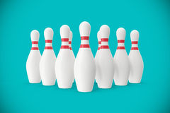 Bowling pins on turquoise background. 3d illustration Stock Image