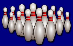 Bowling pins. Vector illustration of a bowling pins in a blue background Stock Images