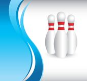 Bowling pins on vertical blue wave background Stock Photography
