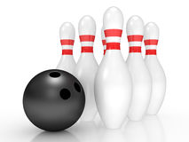 Bowling pins on white Royalty Free Stock Photo