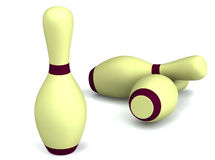 Bowling pins on white 3d rendered Stock Images