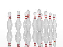 Bowling pins and on a white background. Bowling pins  on a white background. Made in 3d Stock Photos