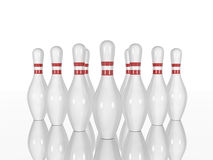 Bowling pins and on a white background. Bowling pins  on a white background. Made in 3d Stock Photography