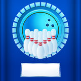 Bowling plaque on blue background Stock Images