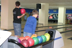 Bowling players Stock Images