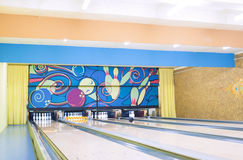 Bowling Playground Lanes With One ball Rolling Stock Photo