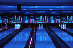 Bowling playing hall. Dark blue bowling playing hall Stock Photography