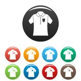 Bowling polo shirt icons set color royalty free illustration