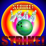 Bowling poster vector template. Bowling ball and skittles modern style illustration. Strike! stock illustration