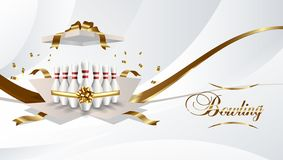 Bowling present open box with pins gold color ribbon on white background. Vector illustration. royalty free illustration
