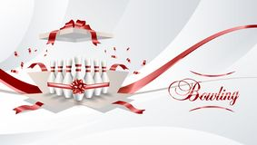 Bowling present open box with pins red color ribbon on white background. Vector illustration. vector illustration
