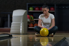 Bowling Problem At The Bowling Alley Stock Photo