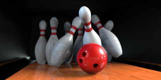 Bowling. Red bowling ball is hitting pins in the alley Stock Photography