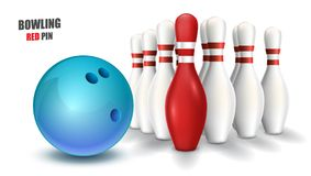 Bowling red pin and blue ball. Vector clip art illustration. Stock Photos