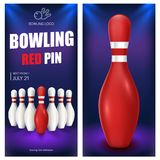 Bowling red pin flyer template. Vector clip art illustration. Stock Photo
