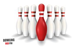 Bowling red pin. Vector clip art illustration. Stock Photography