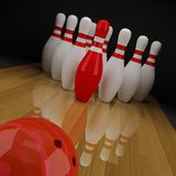 Bowling with a red skittle Stock Photography