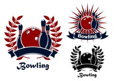 Bowling retro emblems with balls and ninepins Royalty Free Stock Images