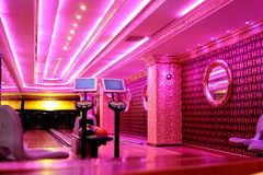 Bowling room. The classical room for bowling alley with pink, psychedelic colors stock photography