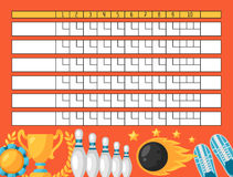 Bowling score sheet. Blank template scoreboard with game objects Royalty Free Stock Photography
