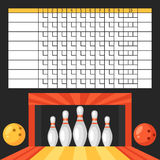 Bowling score sheet. Blank template scoreboard with game objects Royalty Free Stock Photo