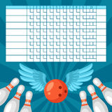 Bowling score sheet. Blank template scoreboard with game objects Stock Images
