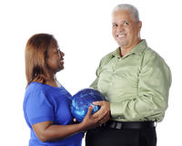 Bowling Senior Couple Stock Image