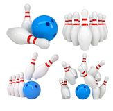 Bowling set. Isolated on white. 3d illustration Stock Photos