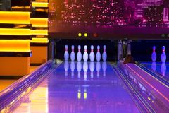 Bowling. The set of bowling pins on position stock images