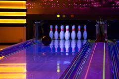 Bowling. The set of bowling pins on position stock image
