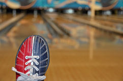 Bowling shoe in bowling alley Stock Photography