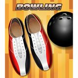 Bowling shoes and ball on bowling court parquet surface Royalty Free Stock Images