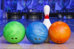Bowling pins and ball for play in bowling. Bowling shoes, bowling pins and ball for play in bowling royalty free stock photography